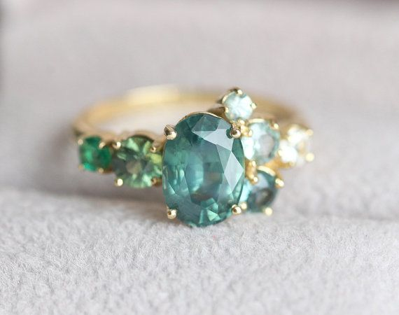 Sapphire Engagement Ring Green Sapphire Ring Diamond by capucinne