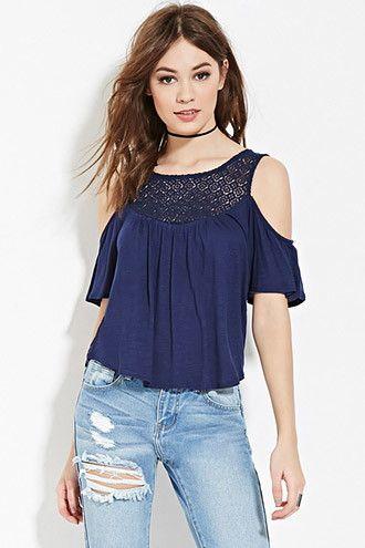 Crochet Open-Shoulder Top | Forever 21 - 2000168513