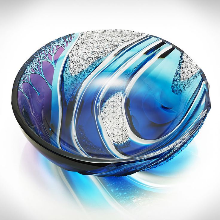 Edo Kiriko Cobalt Blue to Clear Cut Japanese Glass