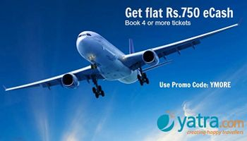 Get Rs.750 eCash On One Way Domestic Flight Bookings at Yatra