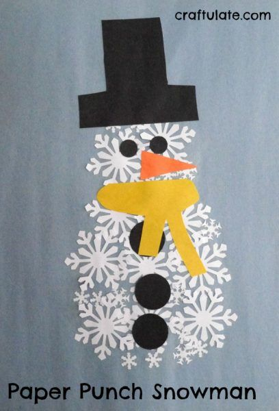 Paper Punch Snowman - a winter craft for kids