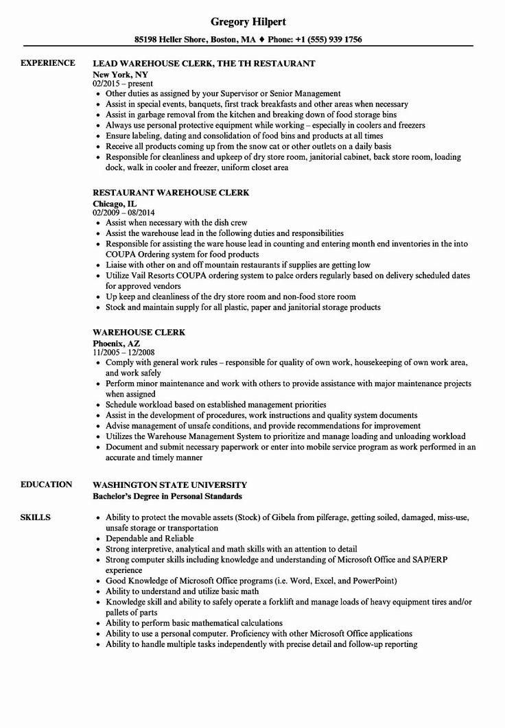 Warehouse job description resume lovely warehouse clerk