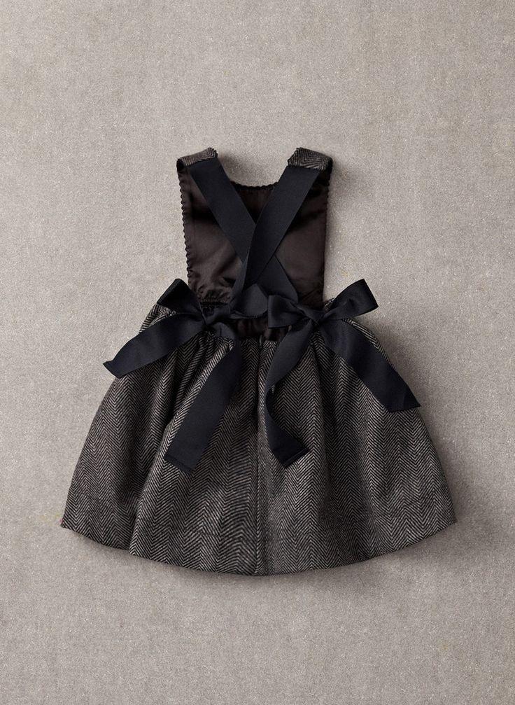 Nellystella Fleur Jumper Dress - Blue Rail Herringbone - Only size 8 left