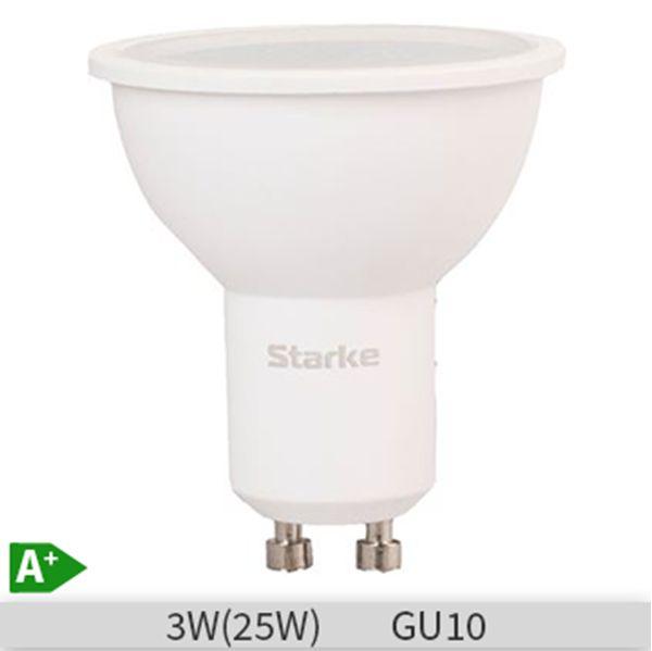 Bec LED STARKE Plus forma spot 3W-25W, GU10, 30000 ore, lumina neutra 4000K