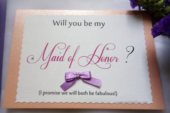 Linen Textured Will you be my Maid of Honor card with Swarovski Crystal by MemorableBliss