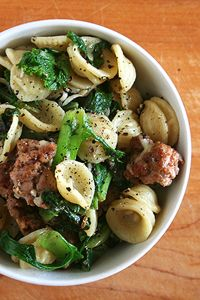 Orecchiette with Hot Italian Sausage & Wilted Greens
