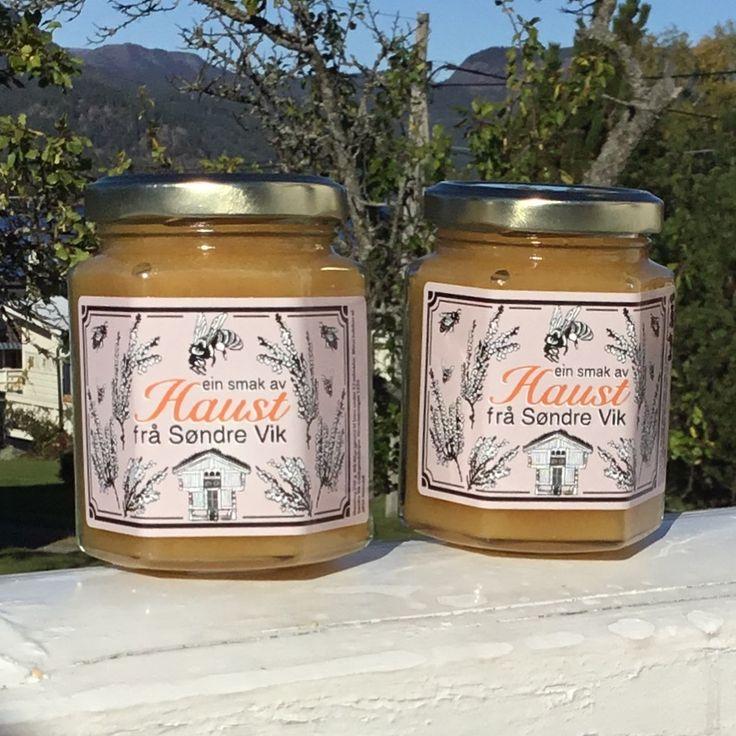 Honey lable for Søndre Vik bigård i Nissedal honning food lable packaging