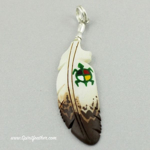 Bone Carved Eagle Feather Pendant With A Painted Turtle And Medicine Wheel Eagle Feathers Feather Pendant Painted Earrings