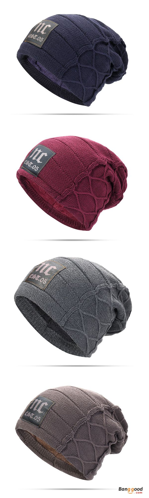 53%&Free shipping. Buy more &  Save more. Mens Cap, Plus, Velvet, Winter, Warm, Knitted Hat, Casual, Letter, Solid, Skullies, Beanie Hat. Color: Navy, Khaki, Deep Red, Black, Coffee, Dark Grey. Shop now~