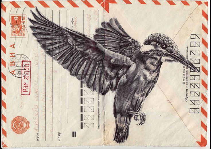 Birds drawn on vintage envelopes by Mark Powell