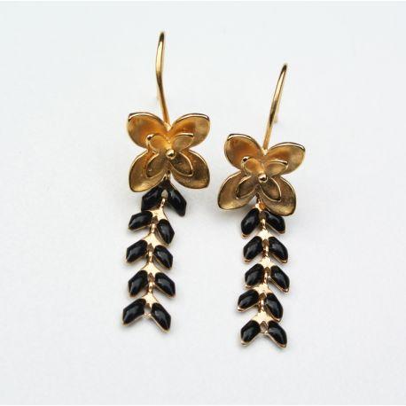 Boucles d'oreilles dorées épi noir attache fleur