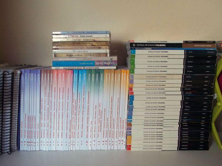 Livros do Objetivo e do Poliedro que eu vou usar em 2016.
