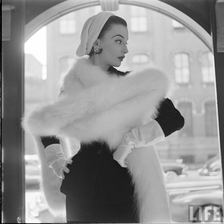 Woman in WHITE FOX Fur, photographed by Gordon Parks, LIFE Magazine, 1952