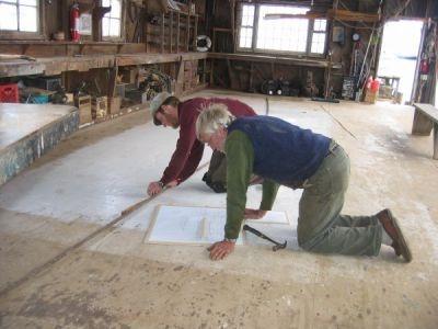 On the lofting floor - Gannon & Benjamin shipyard