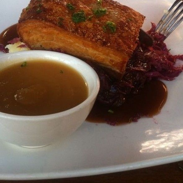 Caramelized Pork Belly With Red Cabbage And Apple Sauce
