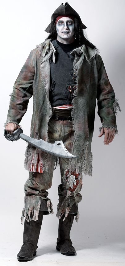 Adult Mens Zombie Caribbean Pirate Halloween Fancy Dress Costume | eBay