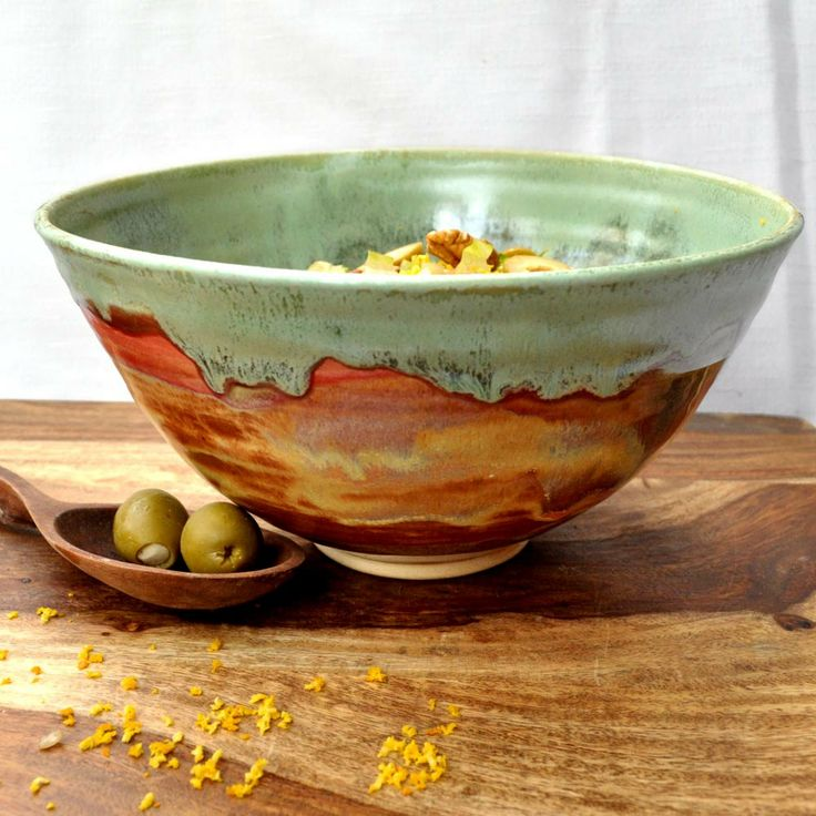 Ceramic Bowl Noodle bowl green rust Autumn Song handmade wheel thrown pottery bowl