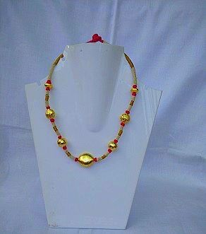 Threaded Necklace with Red and Golden Beads