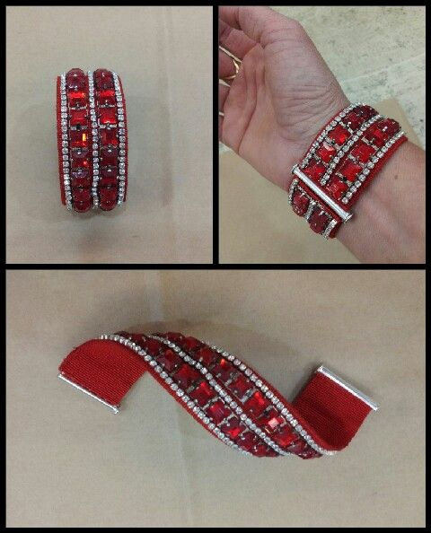 Bracciale realizzato con bordo gioiello a pietre rosse cucito su canneté con tre fili di svarowsky quadrati.