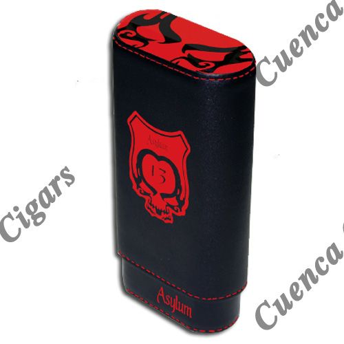 Shop Now Asylum 13 Super Size Leather Cigar Case - Red and Black | Cuenca Cigars  Sales Price:  $44.99
