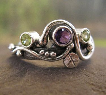 sterling silver with natural amethyst and peridot . (( Secret Garden Ring )) . READY TO SHIP in size 7. $208.00, via Etsy.