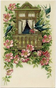 Birds and Flowers Postcard (without writing) ~ Free Vintage Image