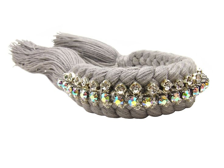 Braided bracelet grey with crystals - Jolita Jewellery  ON SALE NOW. Was £25o now £110.