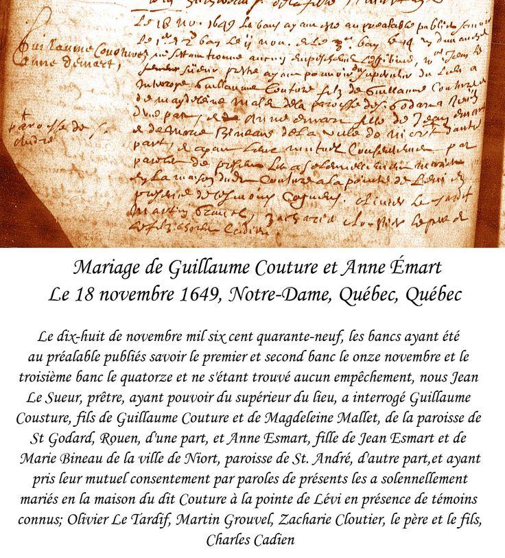 Mariage de Guillaume Couture et Anne Émard en 1649.