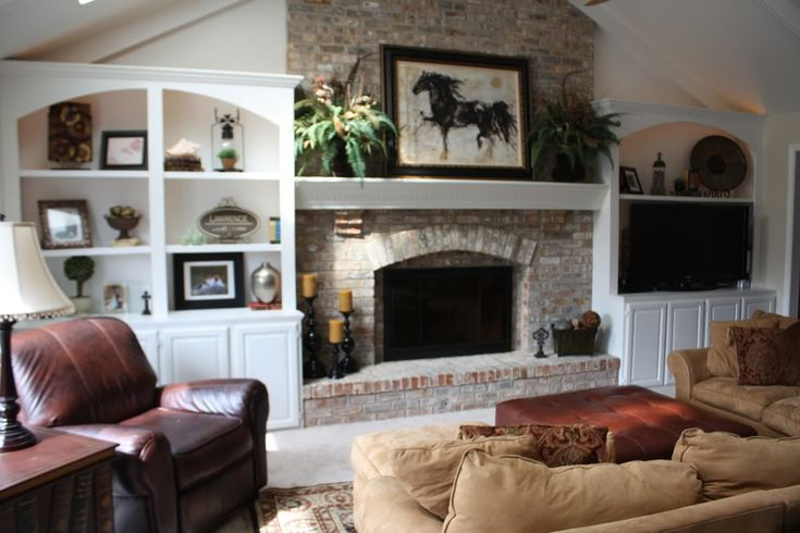 Wish i could flank bookcases on each side of my fireplace for Fireplace with windows on each side