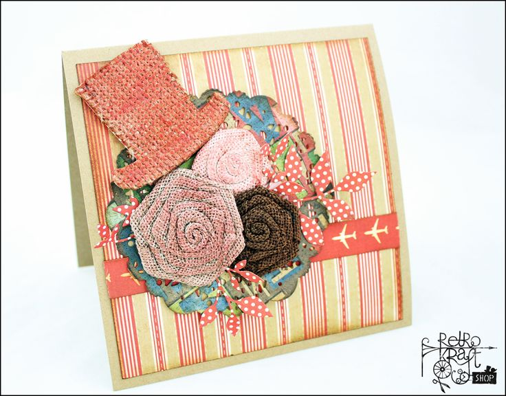 Męska kartka (z kwiatami!) / A masculine card (with flowers!) http://www.retrokraftshop.pl/pl/81-juta-retro-kraft
