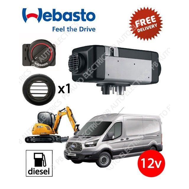 Webasto Air Top 2000 STC 12v Universal Air Heater Kit With Rotary Control & Single Ducting Kit.