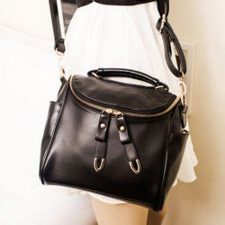 $13.06 Vintage Style Women's Tote Bag With Solid Color PU Leather and Zipper Design