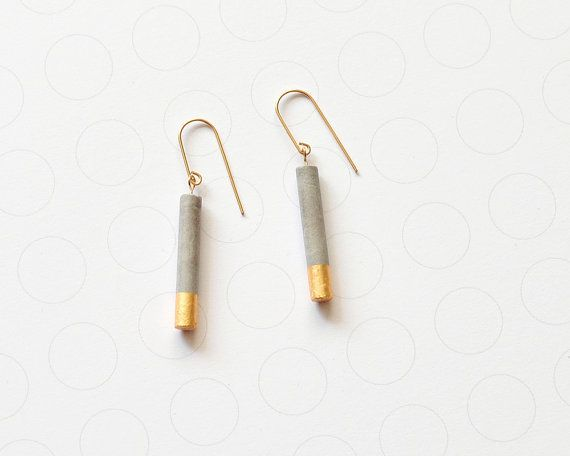 Long minimalist concrete earrings, gold dipped cylinder