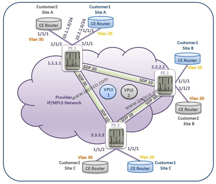 #AlcatelLucent, #VPLS Example Topology #L2VPN