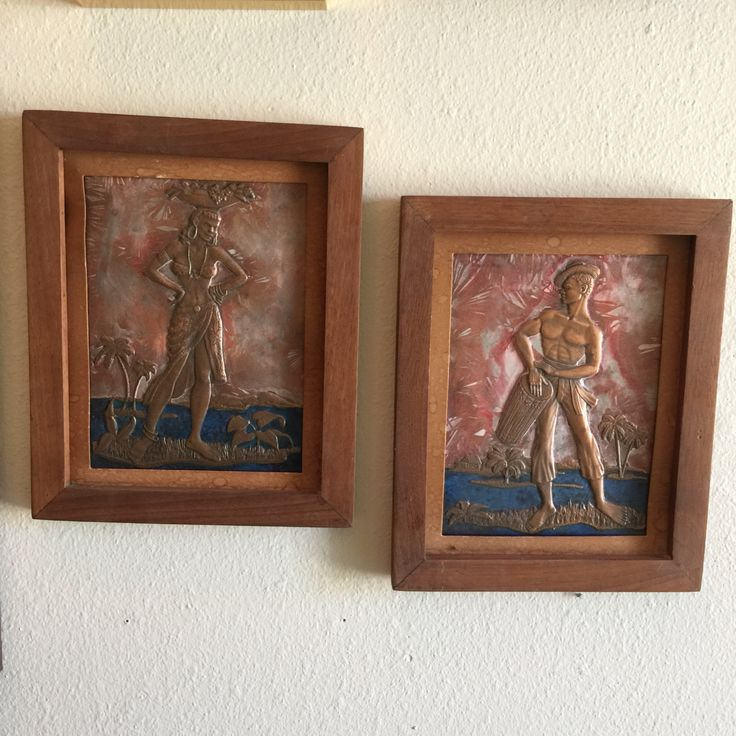 Hammered Copper Art Caribbean Figures Island Scene Conga Player Fruit Basket Palm Trees by RetroResaleSanDiego on Etsy