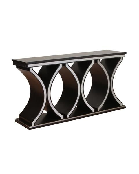 Accent Table Brown MDF Mirror Rossi Console