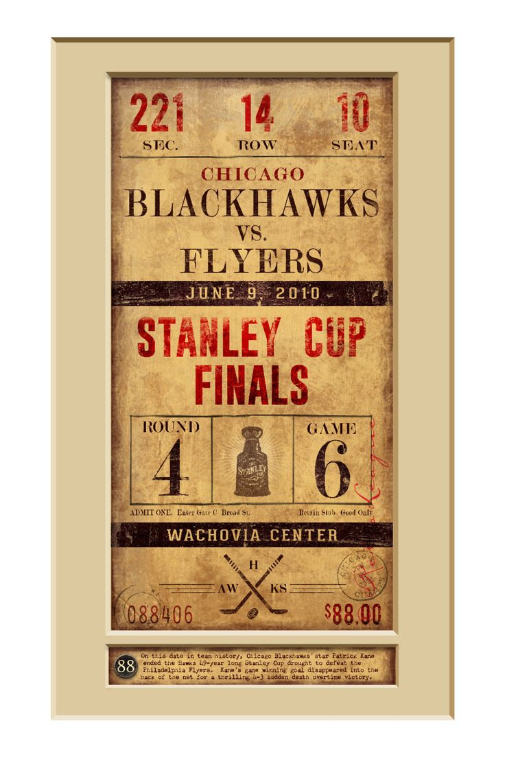 Chicago Blackhawks Ticket Art - 2010 Stanley Cup - Perfect Gift for Father's Day Birthday Anniversary Christmas - Unframed Print