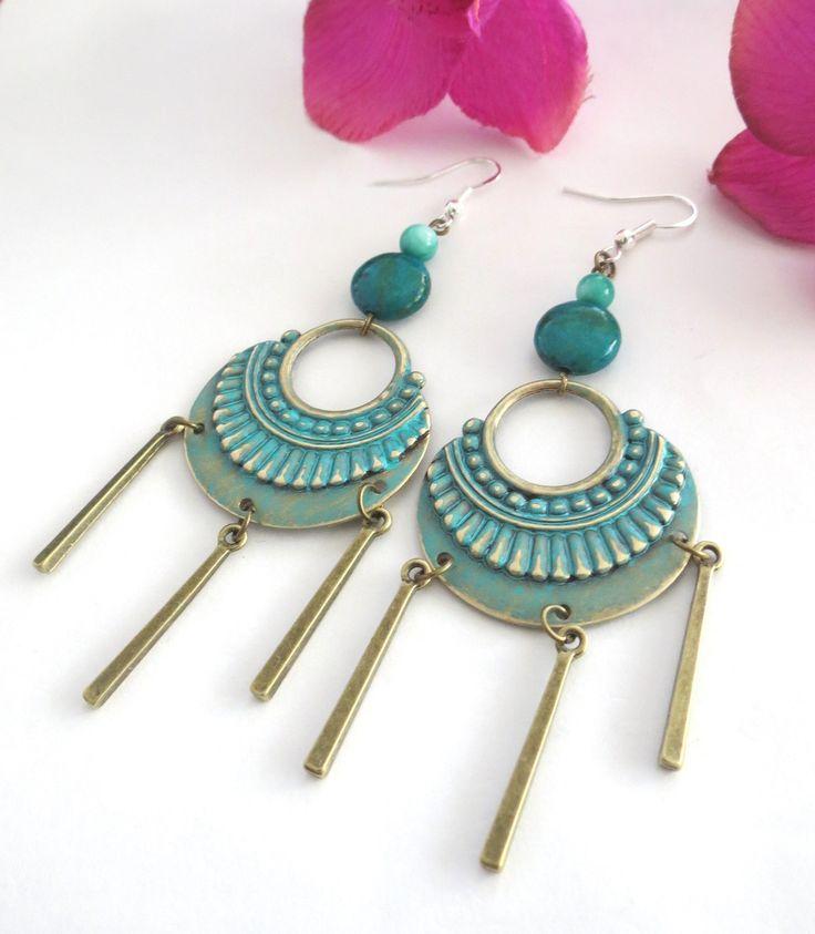 "Superbes boucles d'oreilles ethniques d'inspiration maya ""Xibalba"" : Boucles d'oreille par perlescence"