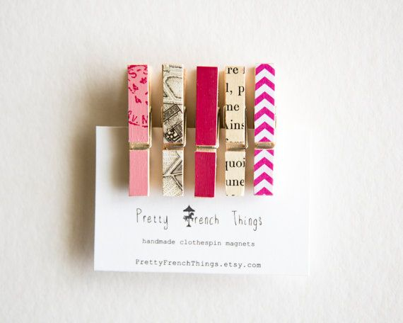 Mini Clothespin Magnets in Pink by PrettyFrenchThings on Etsy, $8.00
