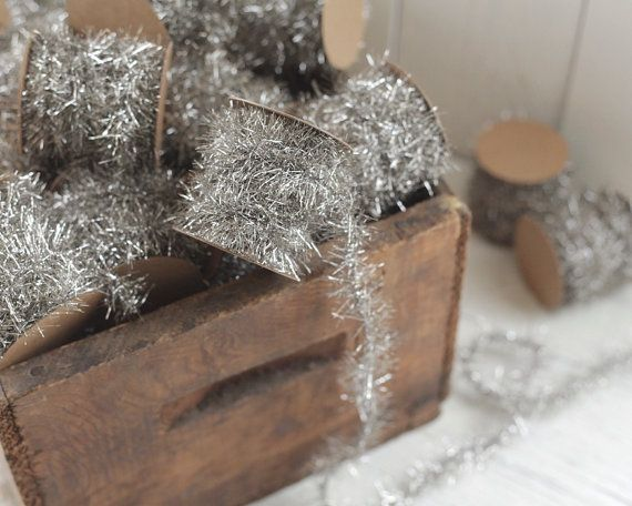 Tinsel Garland Silver Vintage Style Christmas by smilemercantile