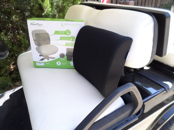 Club car golf cart accessories can add comfort to your ride like this memory foam back support that comes with us on our golf cart rides.