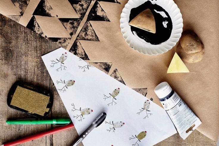 Un rouleau de papier kraft, une pomme de terre, un peu de peinture et 10 doigts : il n'en faut pas plus pour créer un papier-cadeau qui vient du cœur. N'oubliez pas d'immortaliser le sourire de Papy, Mamie lorsqu'ils découvriront les sublimes créations plus ou moins abstraites de vos enfants !