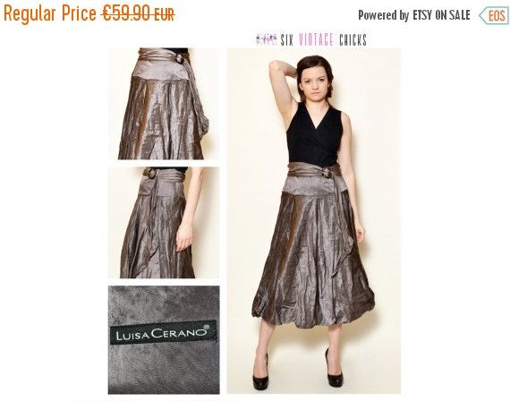 VALENTINES DAY SALE Vintage Luisa Cerano Skirt/ 90's elegant, midi skirt/ Party style shiny skirt/ Size S/36/ Free Shipping, Gift Idea For H by SixVintageChicks on Etsy