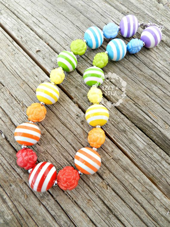 Children's Chunky Bead Necklace | Rainbow Necklace by Izzy & Isla | Summer Necklace | First Birthday Necklace | Skittles