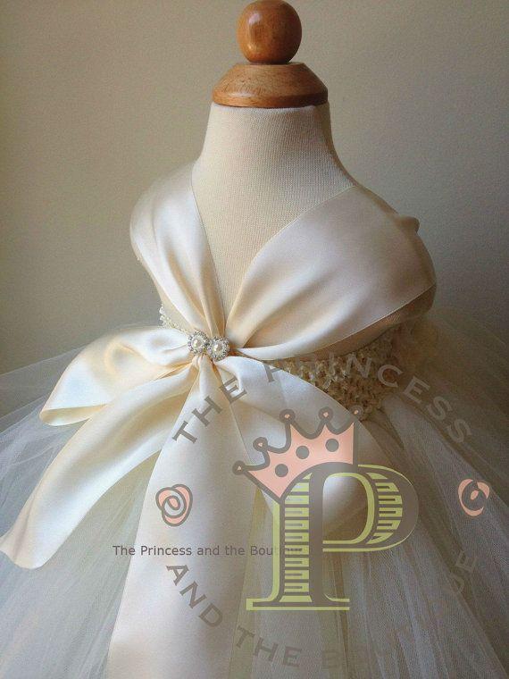 Ivory flower girl dress with ivory chiffon by Theprincessandthebou