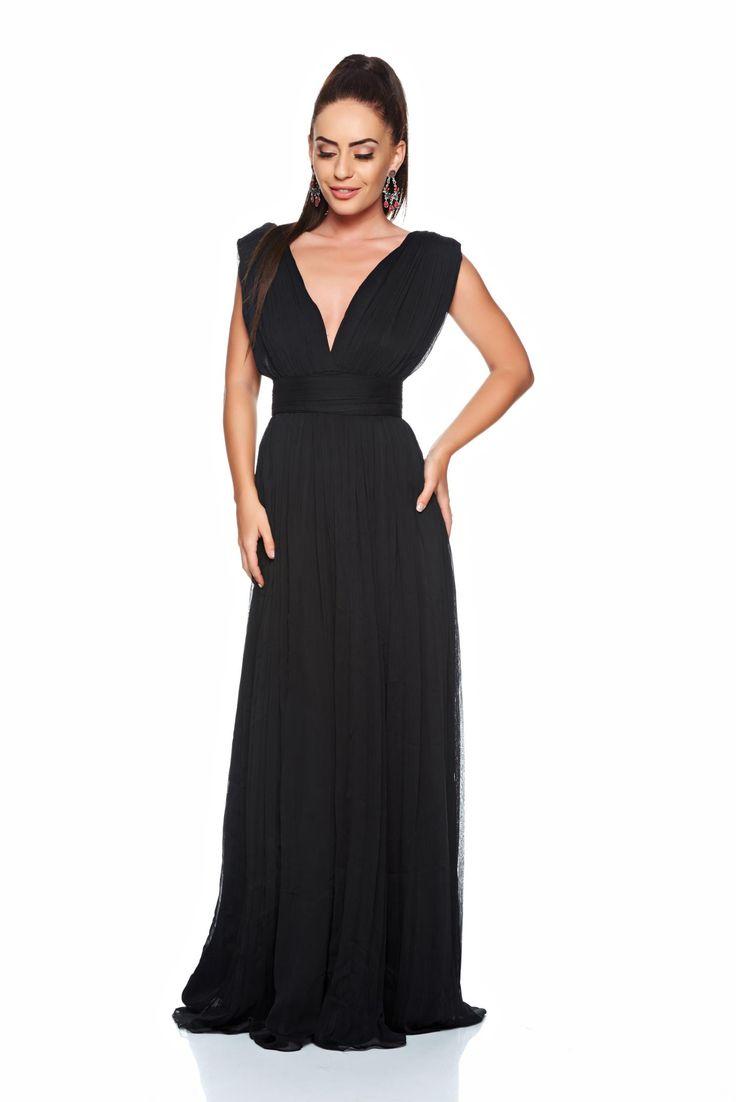 "Ana Radu Distinguished Look Black Dress, inside lining, ""V"" cleavage, sleeveless, accessorized with tied waistband"