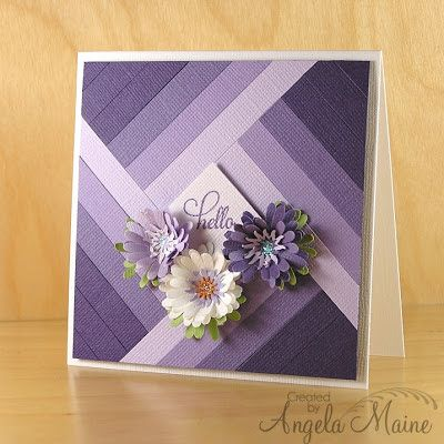 hand crafted card ... from the tool shed: Ombre Hello ... shades of purple ... flowers on top ...