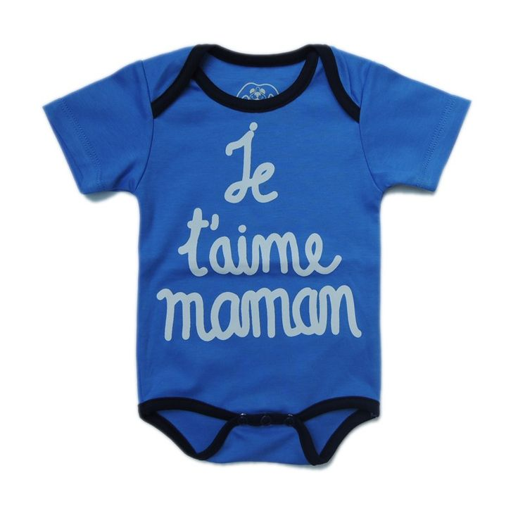 """100% Pima cotton short sleeve bodysuit with French Message print """"Je t'aime Maman/ I love you Mum"""""""
