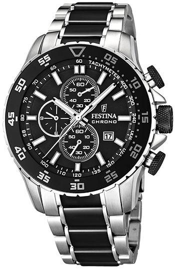 Montre Festina Chronographe Homme F16628-3 - Quartz - Cadran et Bracelet Acier Noir et Argent - Date
