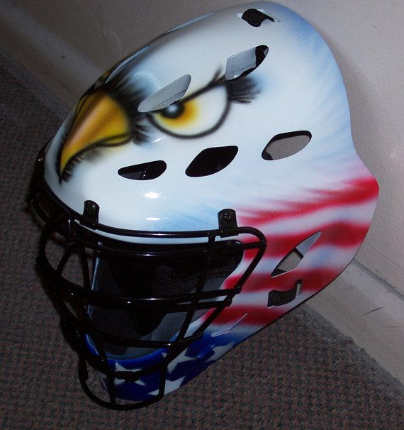 Airbrushed Eagle American Flag Adult Catchers Helmet